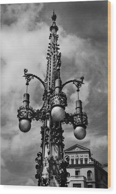 Gothic Lamp Post In Barcelona Wood Print