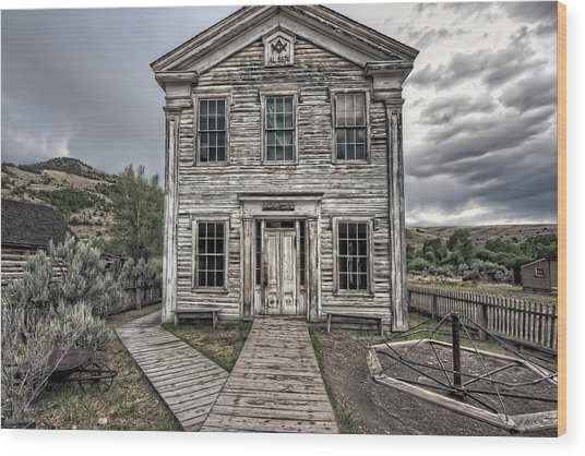 Gothic Lodge And School  - Bannack Montana Ghost Town Wood Print