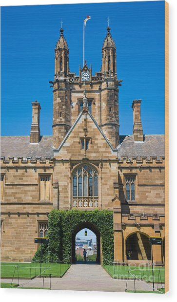 Gothic Tower And Entrance Of Sydney University Wood Print