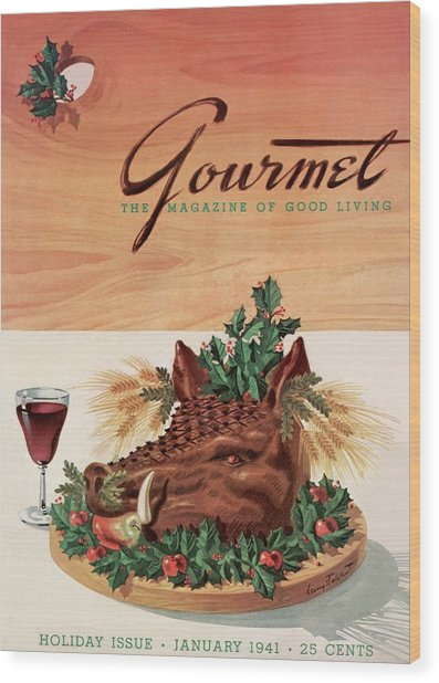 Gourmet Cover Featuring A Boar's Head Wood Print