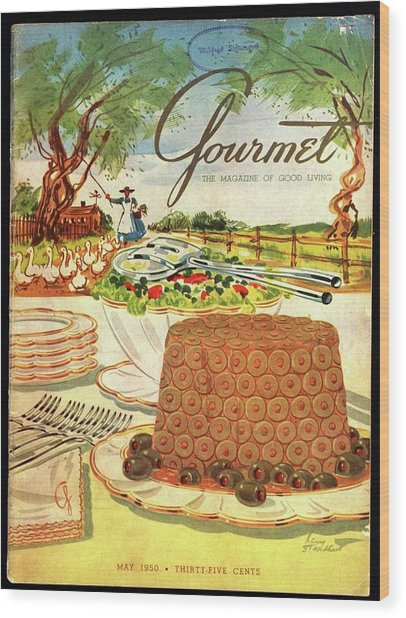 Gourmet Cover Featuring A Buffet Farm Scene Wood Print