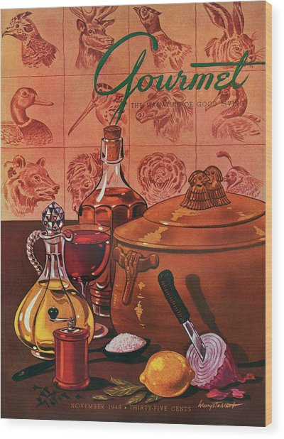 Gourmet Cover Featuring A Casserole Pot Wood Print