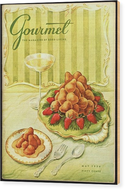 Gourmet Cover Featuring A Plate Of Beignets Wood Print