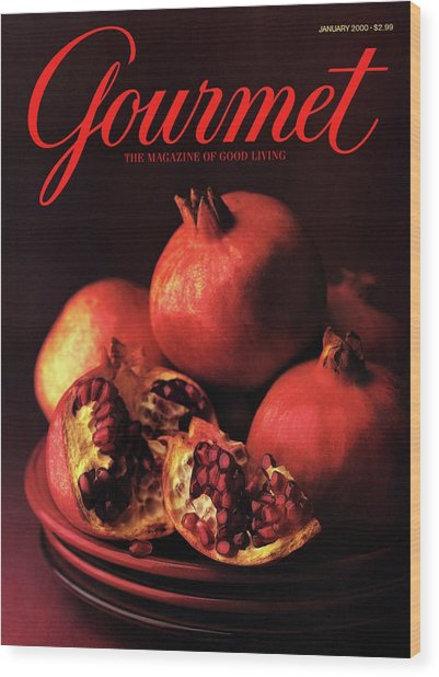 Gourmet Cover Featuring A Plate Of Pomegranates Wood Print
