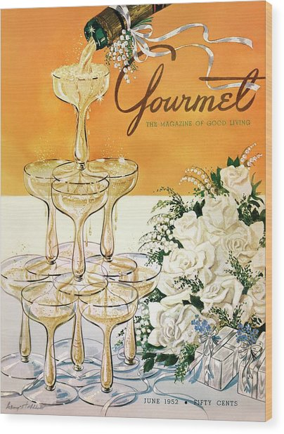 Gourmet Cover Featuring A Pyramid Of Champagne Wood Print