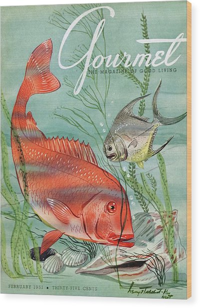 Gourmet Cover Featuring A Snapper And Pompano Wood Print
