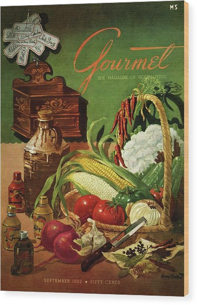 Gourmet Cover Featuring A Variety Of Vegetables Wood Print