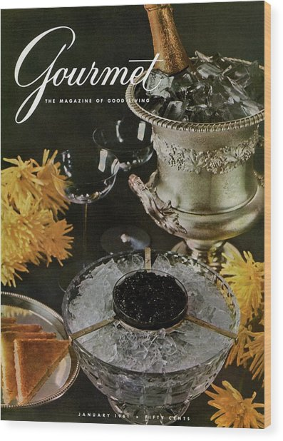 Gourmet Cover Featuring A Wine Cooler Wood Print