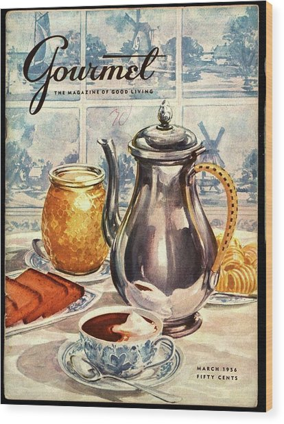Gourmet Cover Featuring An Illustration Wood Print