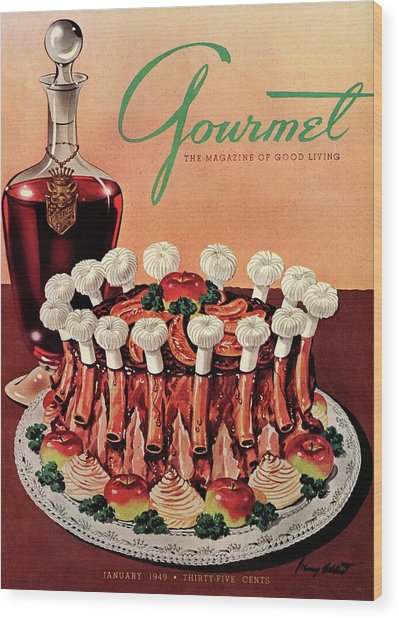 Gourmet Cover Illustration Of A Crown Roast Wood Print