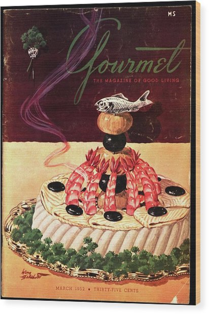 Gourmet Cover Illustration Of A Filet Of Sole Wood Print