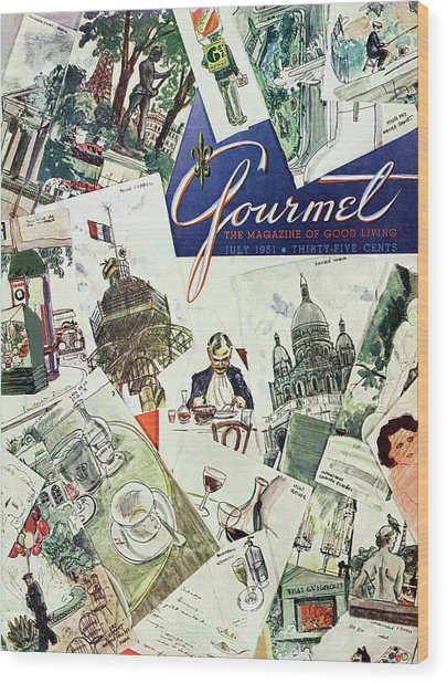 Gourmet Cover Illustration Of Drawings Portraying Wood Print