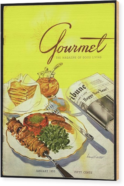 Gourmet Cover Illustration Of Grilled Breakfast Wood Print