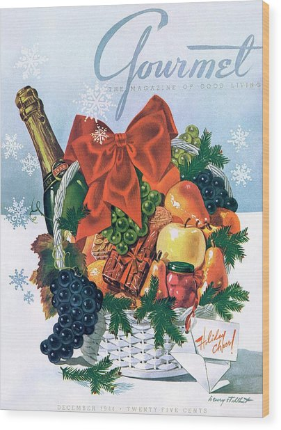Gourmet Cover Illustration Of Holiday Fruit Basket Wood Print