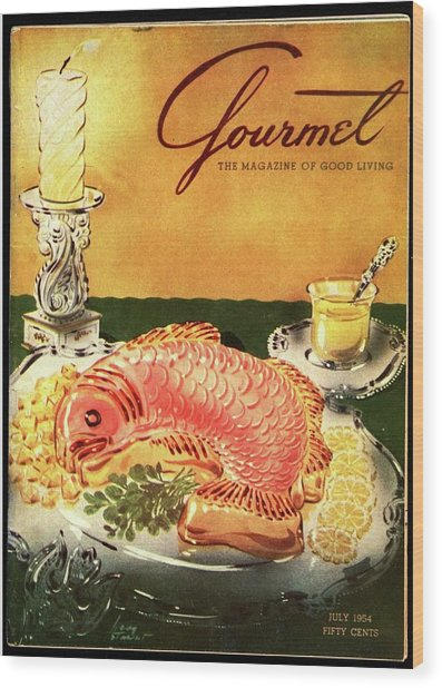 Gourmet Cover Illustration Of Salmon Mousse Wood Print