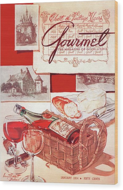 Gourmet Cover Of A Bottle Of Bordeaux Wood Print