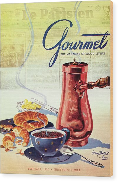 Gourmet Cover Of A French Breakfast Wood Print by Henry Stahlhut