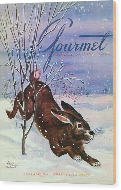 Gourmet Cover Of A Rabbit On Snow Wood Print