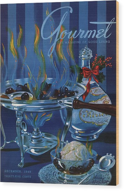 Gourmet Cover Of Cherry Flambe Wood Print by Henry Stahlhut