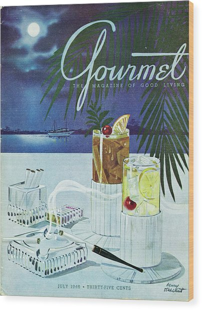 Gourmet Cover Of Cocktails Wood Print