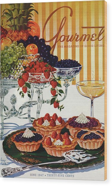 Gourmet Cover Of Fruit Tarts Wood Print