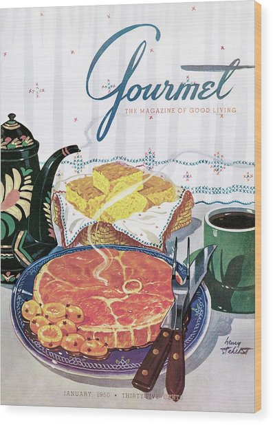 Gourmet Cover Of Ham And Cornbread Wood Print