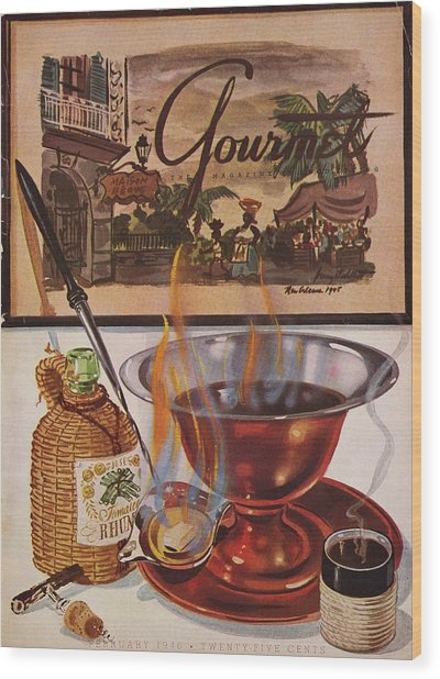 Gourmet Cover Of Maison Begue's Cafe Brulot Wood Print