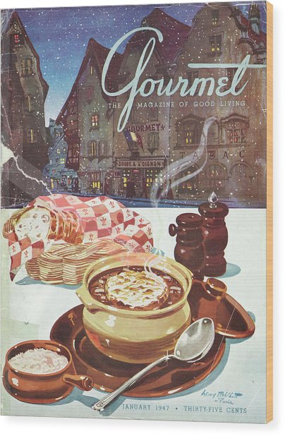Gourmet Cover Of Onion Soup Wood Print