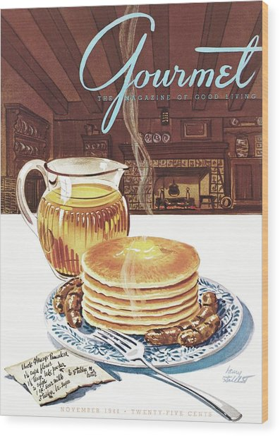 Gourmet Cover Of Pancakes Wood Print