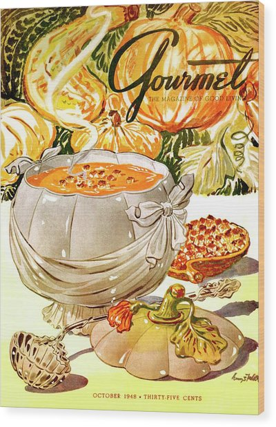 Gourmet Cover Of Pumpkin Soup Wood Print