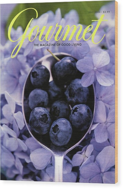 Gourmet Magazine Cover Blueberries On Silver Spoon Wood Print by Jim Franco