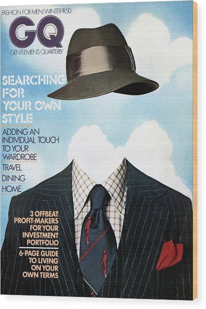 Gq Cover Featuring A Clothes On Top Wood Print by  Victor Valla & Eric Meola