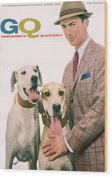 Gq Cover Featuring A Male Model With Dogs Wood Print