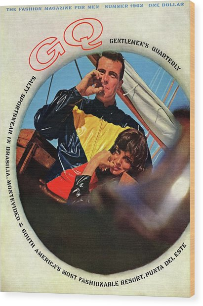 Gq Cover Featuring A Model Wearing A Plastic Wood Print