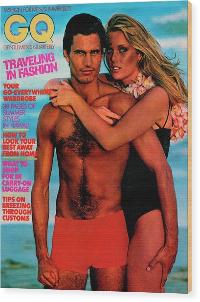 Gq Cover Featuring Patti Hansen And A Male Model Wood Print by Barry McKinley