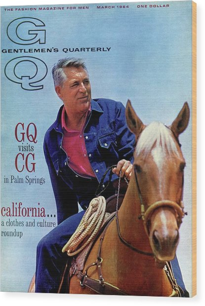Gq Cover Of Actor Carey Grant Horseback Riding Wood Print