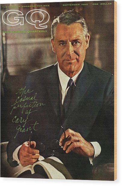 Gq Cover Of Actor Carey Grant Wearing Suit Wood Print by Chadwick Hall