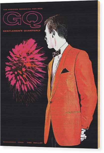Gq Cover Of An Illustration Of A Man Wearing An Wood Print by Leon Kuzmanoff