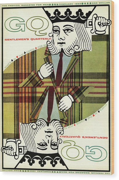 Gq Cover Of An Illustration Of King Playing Card Wood Print by Greenberg & Smith