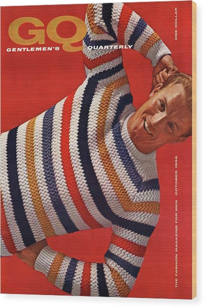Gq Cover Of Man Wearing Striped Sweater Wood Print by Leonard Nones