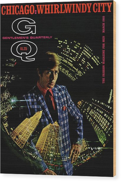 Gq Cover Of Model Wearing A Louis Roth Jacket Wood Print by Leonard Nones