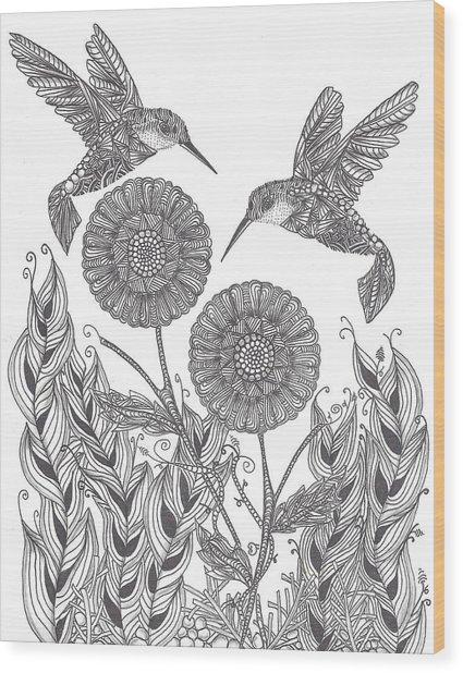 Graceful Humming Birds Wood Print
