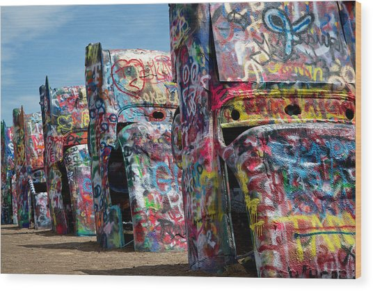 Graffiti At The Cadillac Ranch Amarillo Texas Wood Print