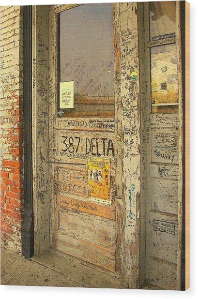 Graffiti Door - Ground Zero Blues Club Ms Delta Wood Print