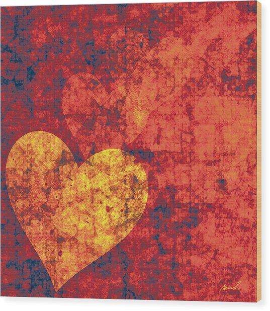 Graffiti Hearts Wood Print