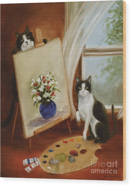 Graham's Cats The Artists Wood Print by Stella Violano
