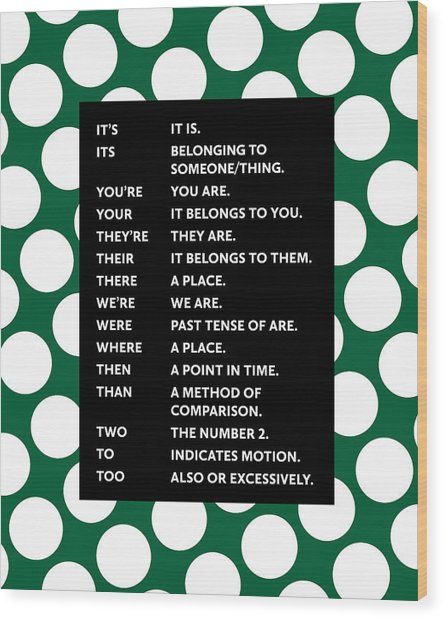 Grammar Rules Wood Print
