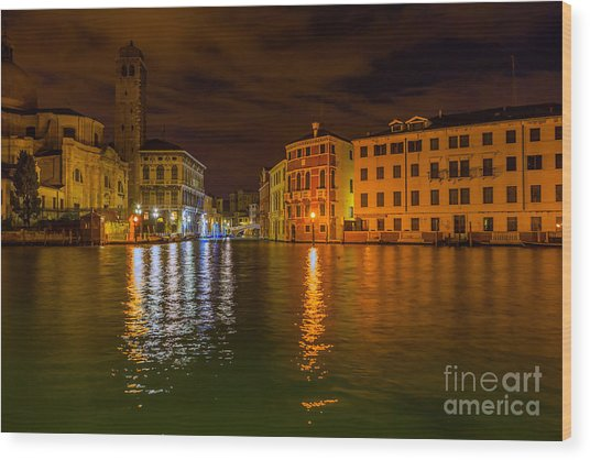 Grand Canal In Venice At Night Wood Print