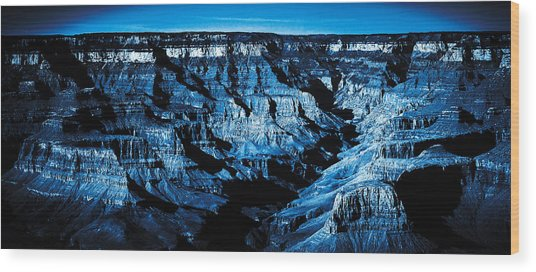 Grand Canyon In Blue Wood Print
