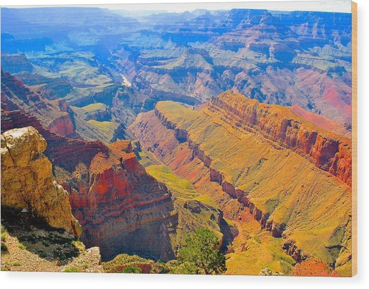 Grand Canyon In Vivid Color Wood Print